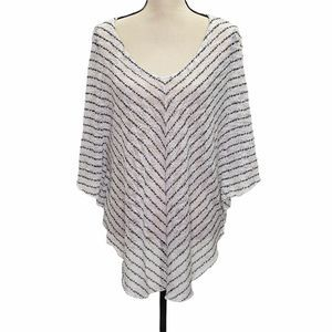 Cato Women's White And Black Stripped Poncho Large